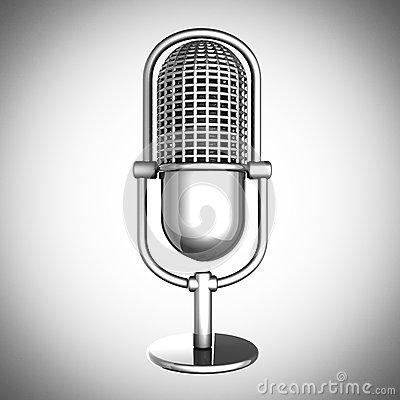 Retro microphone on gray background