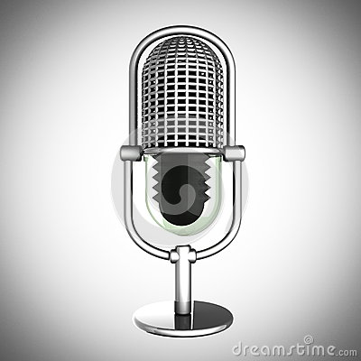 Retro microphone on gray background