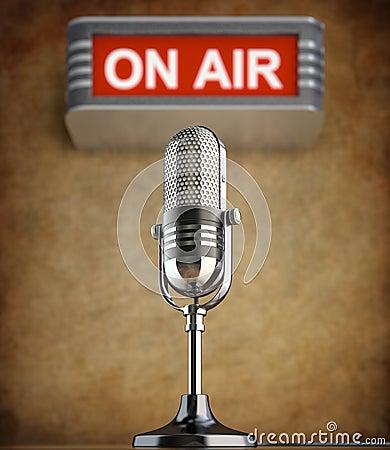 Retro microphone in the old studio