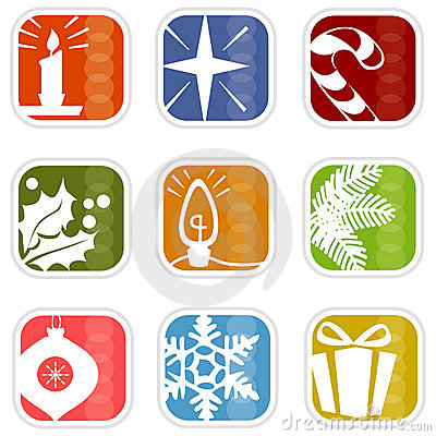 Free Retro Mod Christmas Icons Royalty Free Stock Photo - 3056775