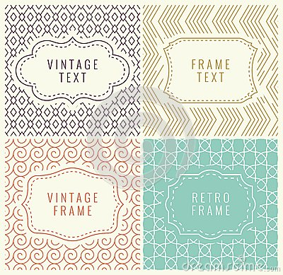 Free Retro Mono Line Frames With Place For Text. Vector Design Template, Labels, Badges On Seamless Geometric Patterns. Stock Photos - 55214543