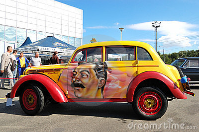 Retro Moskvitch 400 at Yearly automotive-show Editorial Stock Photo