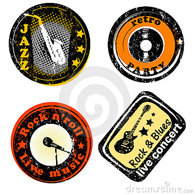 Retro music club party stamps