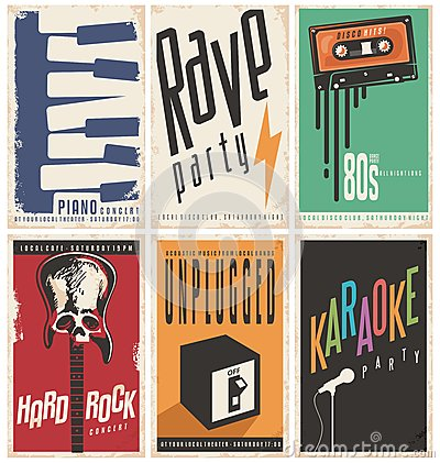 Free Retro Music Posters Collection Royalty Free Stock Images - 69218239