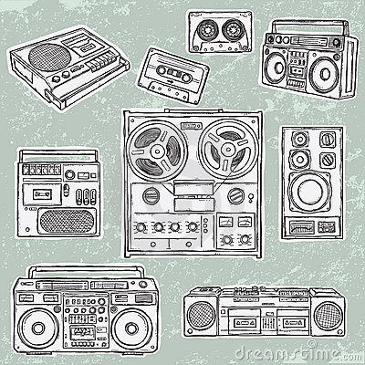 Retro musical equipment. A collection of stylish v