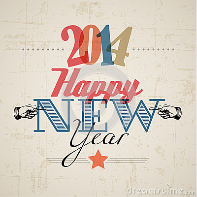 Retro New Year card 2014