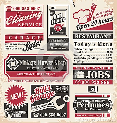 Retro newspaper ads design template