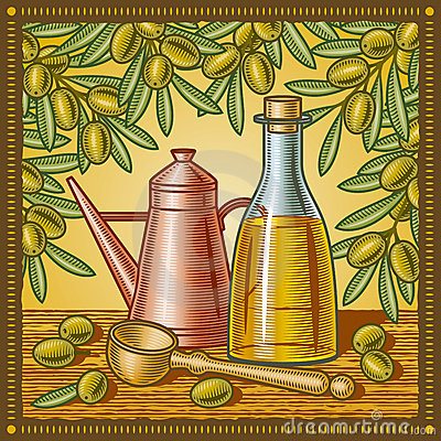 Retro olive oil still life