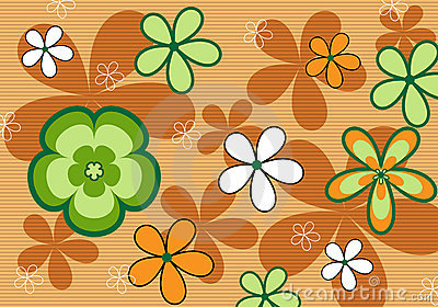 Retro orange floral background