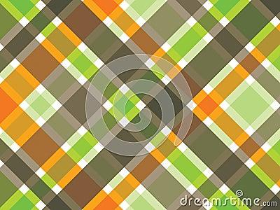 Retro orange green brown plaid