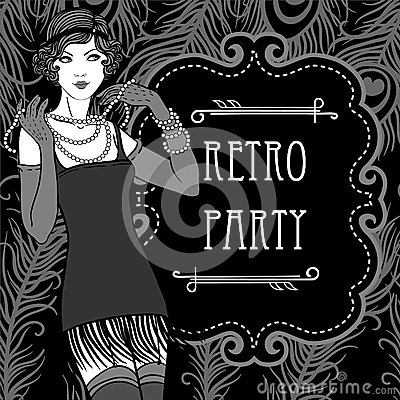 Free Retro Party Invitation Design In 20 S Style Royalty Free Stock Photos - 27193348