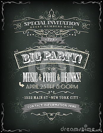 Free Retro Party Invitation On Chalkboard Royalty Free Stock Image - 36917776