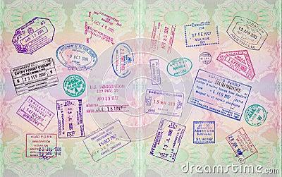 Retro Passport Stamps Editorial Photography