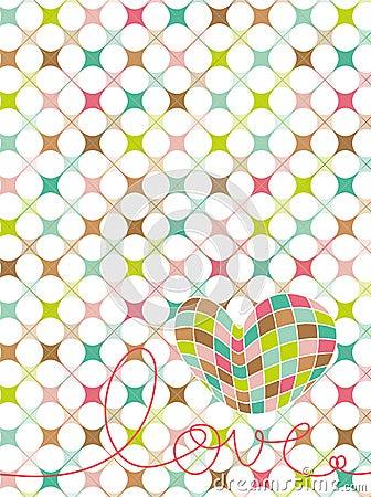 Retro pastel mosaic love heart