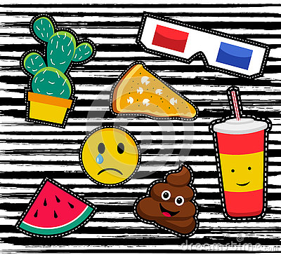 Retro Patch Icon Set In 80s Fashion Style Cartoon Vector