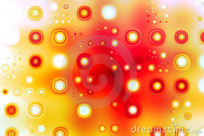 Retro pattern with circles in red and yellow