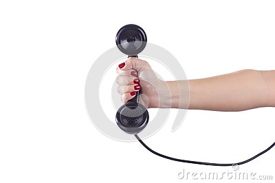 Retro Phone Handset in a Woman s Hand