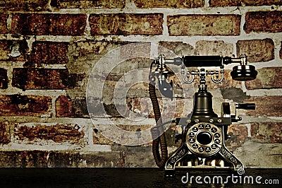 Retro Phone - Vintage Telephone on Old Desk