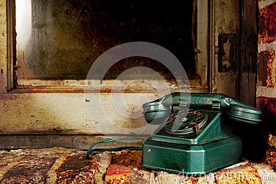 Retro Phone - Vintage Telephone by Old Grunge Window