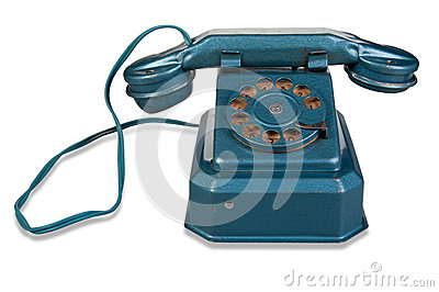 Retro Phone - Vintage Telephone on White Background