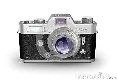 Retro photo camera. Front view.