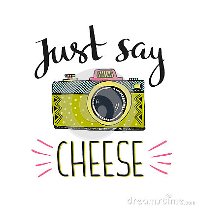 Free Retro Photo Camera With Stylish Lettering - Just Say Cheese. Vector Hand Drawn Illustration. Stock Photos - 72673673