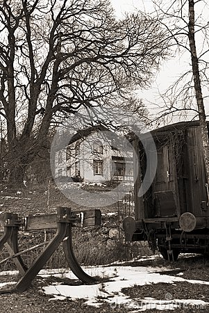 Retro photo of an old train