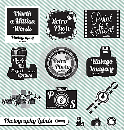 Retro Photography Labels and Stickers