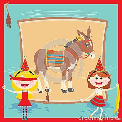 Retro- Pin das Heck auf der Esel-Geburtstagsfeier