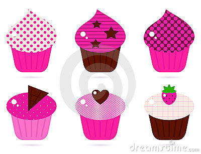 Retro pink cupcakes set