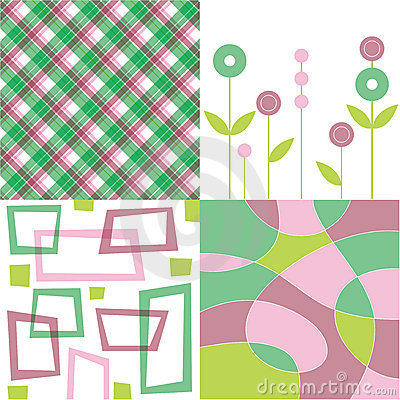 Retro pink and green plaid quad