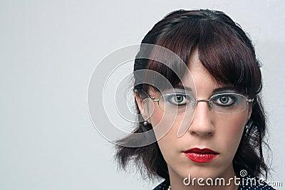 Retro Pinup Girl, Headshot, with eyeglasses (1)