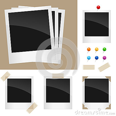 Free Retro Polaroid Frames Set Royalty Free Stock Photography - 24863487
