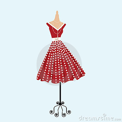 Free Retro Polka Dot Dress Stock Photos - 13333133