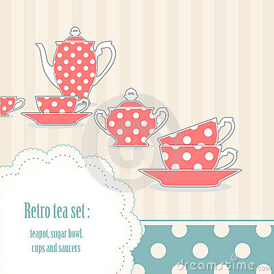 Retro polka dot tea set