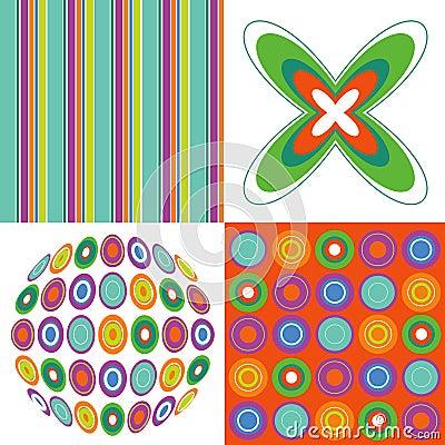 Retro pop orange green pattern