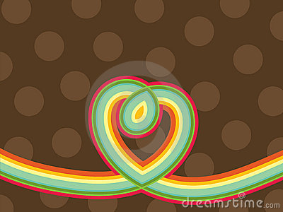 Retro pop rainbow line heart