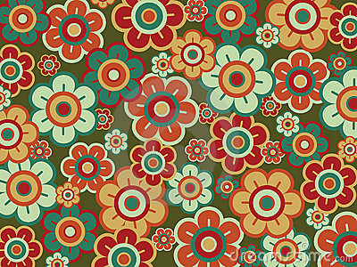Retro pop red green daisies