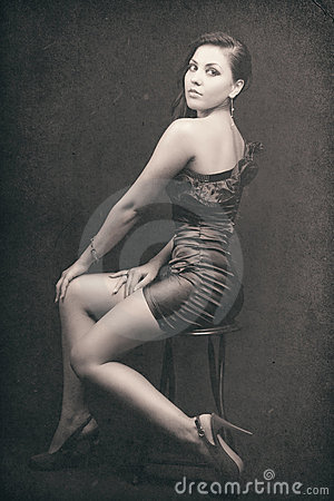 Retro portrait of sexy elegant woman