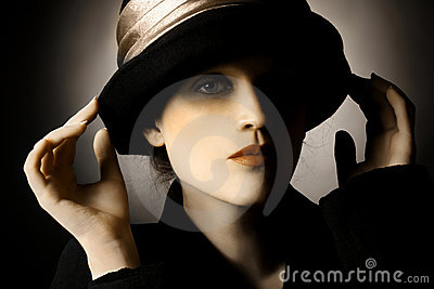 Retro portrait of woman in hat