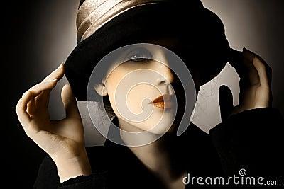 Retro portrait of woman in hat