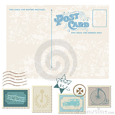 Retro Postcard and Postage Stamps