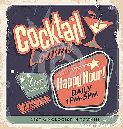 Free Retro Poster Design For Cocktail Lounge Royalty Free Stock Photography - 32622917