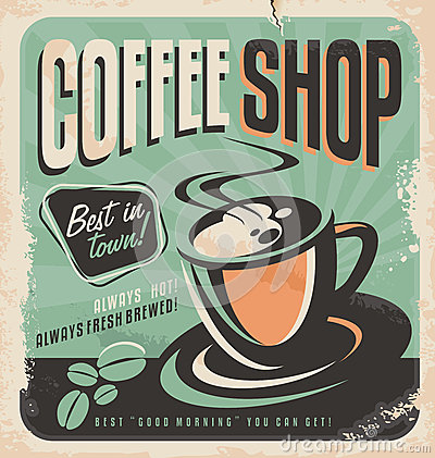 Free Retro Poster For Coffee Shop Stock Images - 37273634