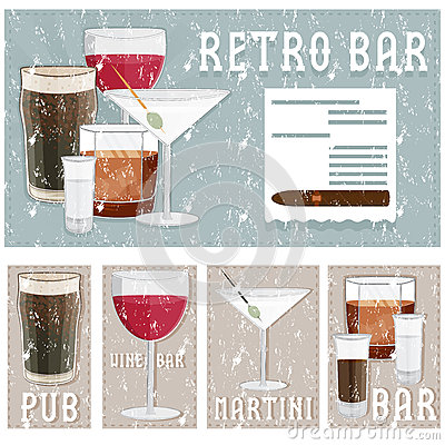 Free Retro Poster Of Bar With Glasses Of Different Drinks Stock Photo - 64246160