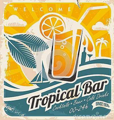 Free Retro Poster Template For Tropical Bar Stock Photos - 30778963