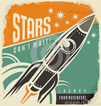 Free Retro Poster With Rocket Launch Royalty Free Stock Photos - 62637128
