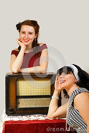 Retro radio and girl