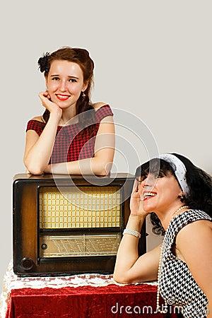 Retro radio and girl