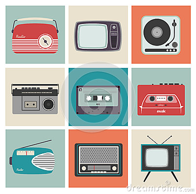Free Retro Radio, TV And Other Electronic Equipment Royalty Free Stock Photo - 31869725